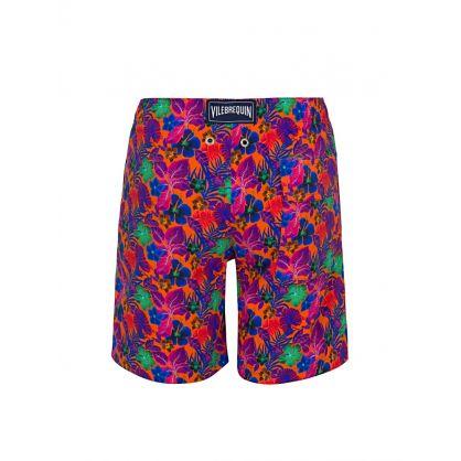 Junior Orange Floral Swim Shorts