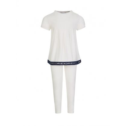 White Frill Top and Leggings Set