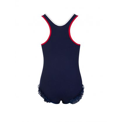 Navy Chest Logo Swimsuit