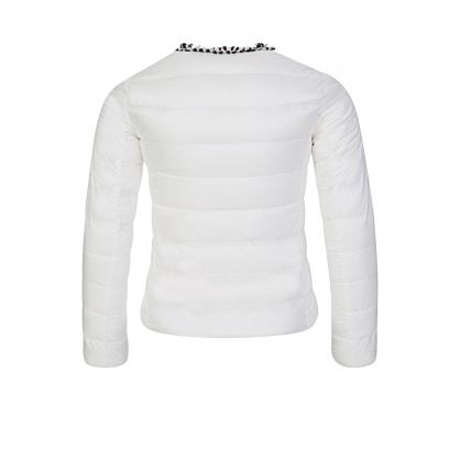 White Hiva Trim Down Filled Puffer Jacket
