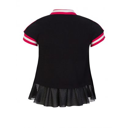 Black Frilled Polo Shirt