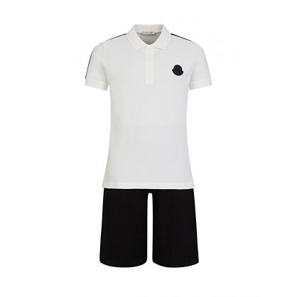 White/Black Polo Shirt Set