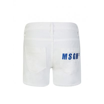 Kids White Back Pocket Logo Denim Shorts