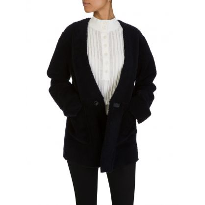 Navy Sheepskin Coat