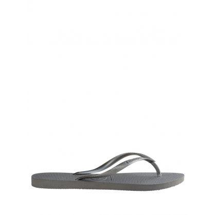 Grey Steel Slim Brazil Flip-Flops