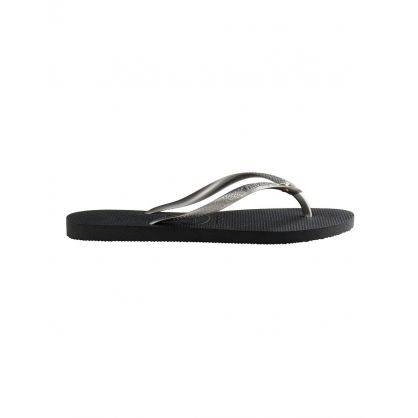 Black Crystal Flip Flops