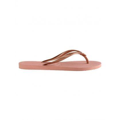 Pink Slim Crystal Flip-Flops