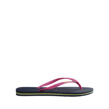 Navy Slim Brazil Logo Flip-Flops