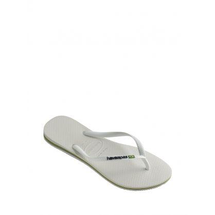 White Slim Brazil Logo Flip-Flops