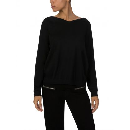 Black Basic V-Neck Jumper