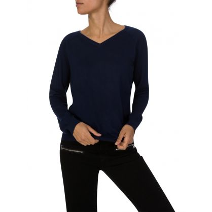 Navy Basic V-Neck Jumper