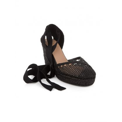 Black Carrie Fabric Wedge Espadrilles