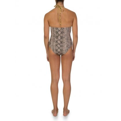Cream Snake Print One Piece Swimsuit
