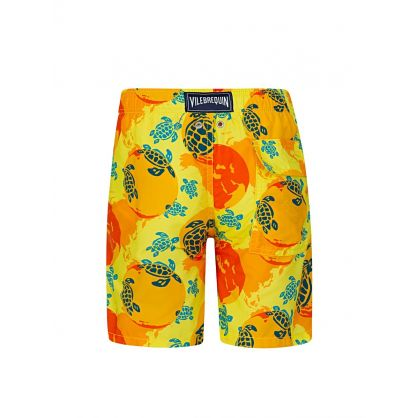 Junior Yellow 'Worldmap' Swim Shorts
