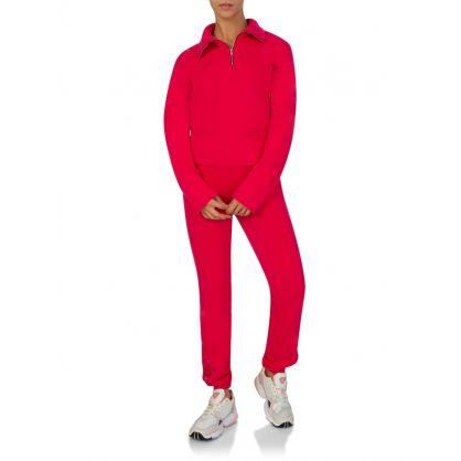 Pink Milan Zipped Polo Sweatshirt