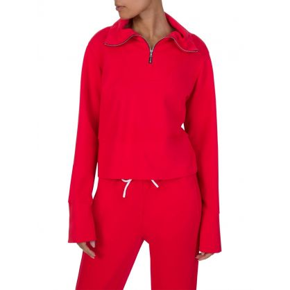 Red Milan Zipped Polo Sweatshirt