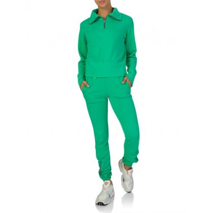 Green Milan Zipped Polo Sweatshirt
