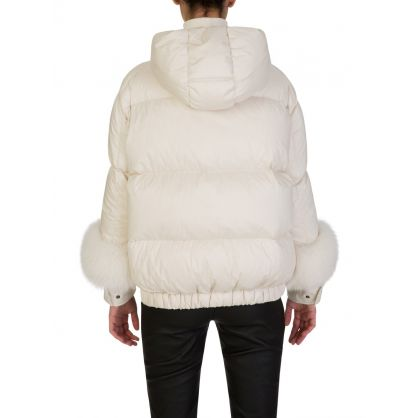 Cream Fraie Fox Fur Cuff Puffer Jacket