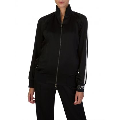 Black Silk Zip Bomber Jacket