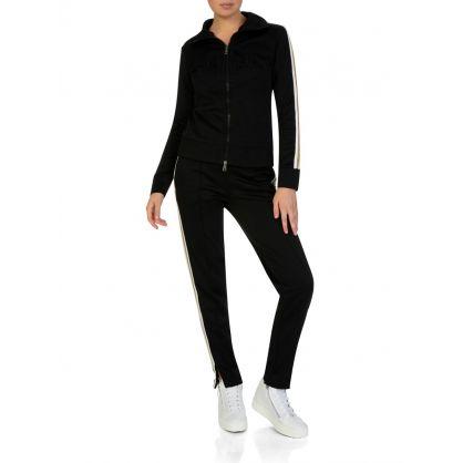 Black Stripe Zip-Up Cardigan