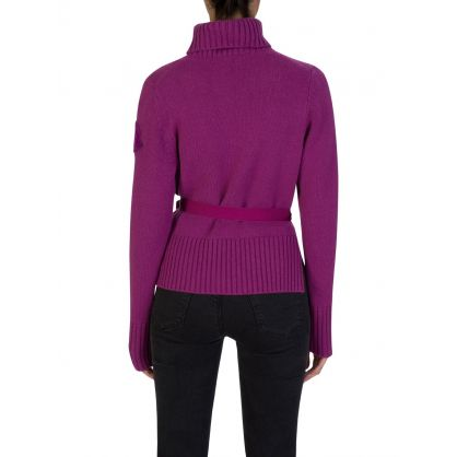 Berry Roll Neck Tie-Side Knit Jumper