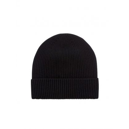 Black Sequin Logo Beanie Hat