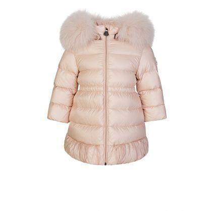 Pink Fur Hooded Puffer Coat