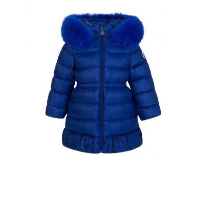 Blue Fur Hooded Puffa Coat