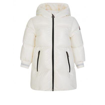 Cream Long Puffer Coat