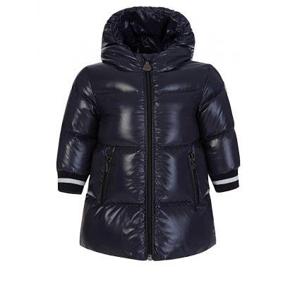 Navy Hooded Puffa Coat