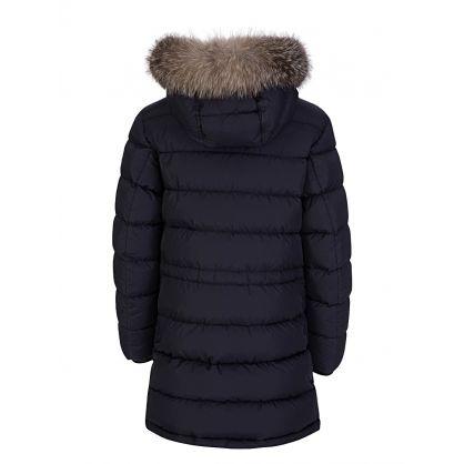 Navy Blue Fur Puffa Coat