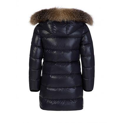 Navy Sagnes Puffer Fur Coat