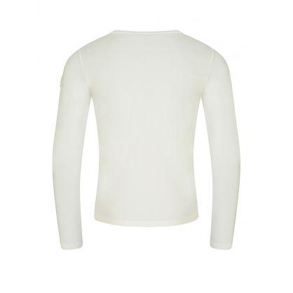 Cream Long-Sleeved Glitter T-Shirt