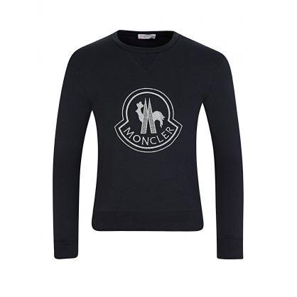 Black Long-Sleeved Glitter Badge T-Shirt