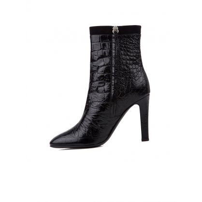 Black Alligator Print Ankle Boots