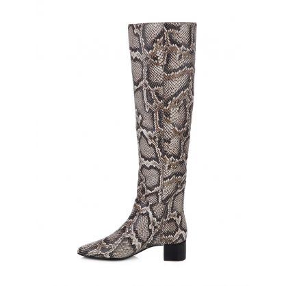 Grey Doreen Python Print Boots