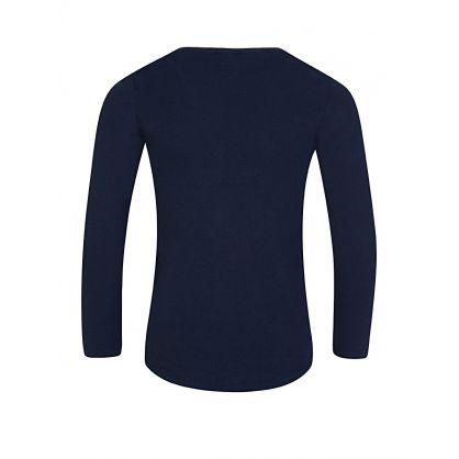 Navy Long-Sleeve Tiger Print T-Shirt
