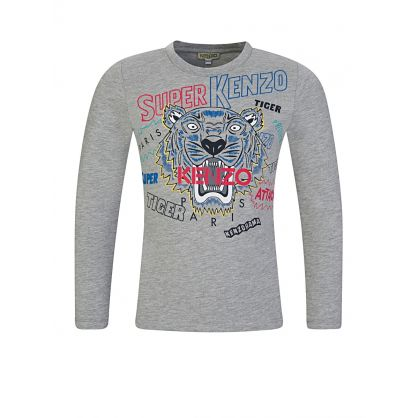 Grey Super Kenzo Tiger Long Sleeve T-Shirt