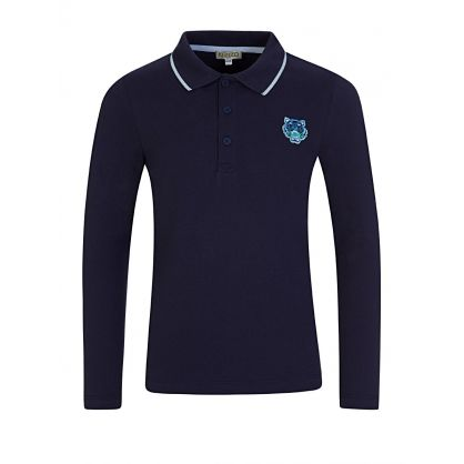 Navy Tiger Long Sleeve Polo Shirt
