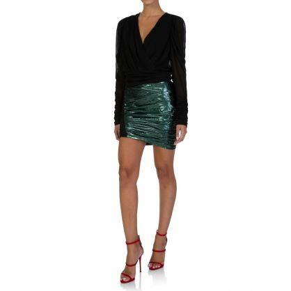 Glow Green Laminated-Effect Mini Skirt