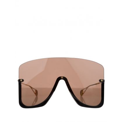 Black Mask Sunglasses With Star Rivets