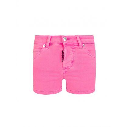 Kids Pink Denim Shorts