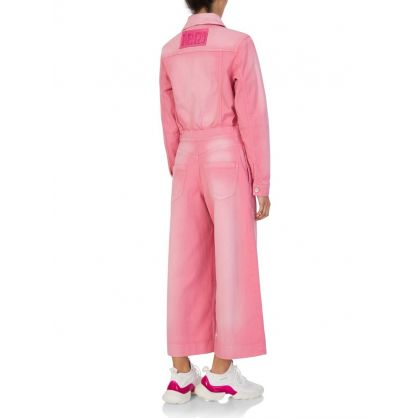 Pink Denim Culotte Jumpsuit
