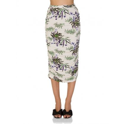 White 'Sea Lily' Midi Skirt