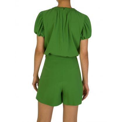 Green Puff Sleeve Blouse
