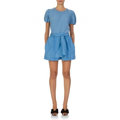Blue Puff Sleeve Blouse