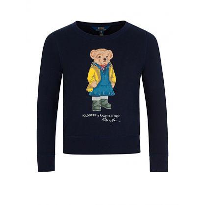 Kids Navy Raincoat Bear Sweatshirt
