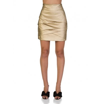 Di Lorenzo Serafini Gold Tiered Mini Skirt