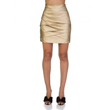 Gold Tiered Mini Skirt