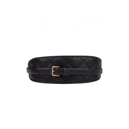 Di Lorenzo Serafini Black Leather Quilted Belt
